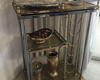 Brass Cart with wine rack Bar Cart Serving Cart so fun small footprint