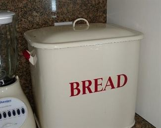Antique enamel bread tin