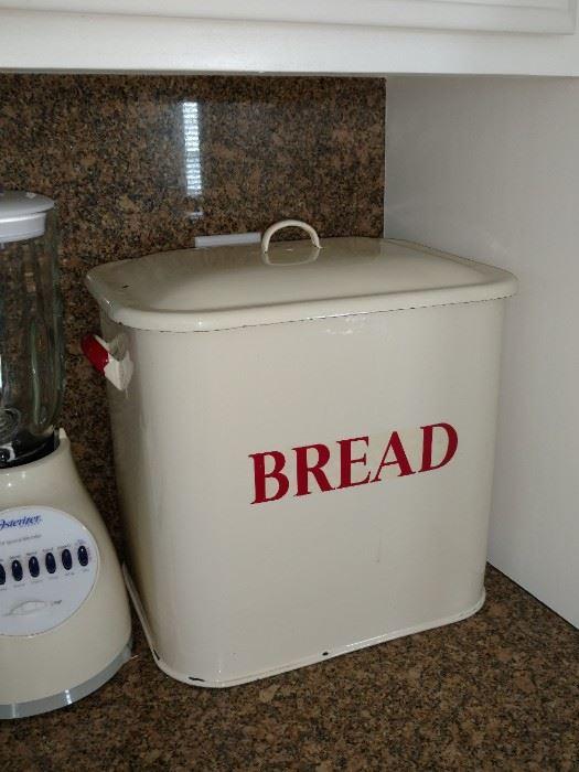 Antique enamel bread tin