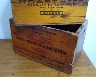 Antique ammo and beef crates