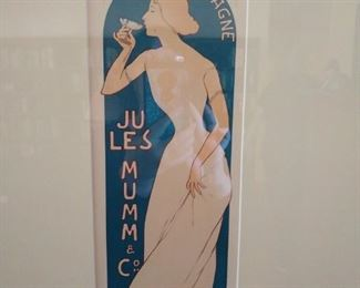 """Original 1895 advertising lithograph by Realier Dumas for """"Mumm Champagne"""""""