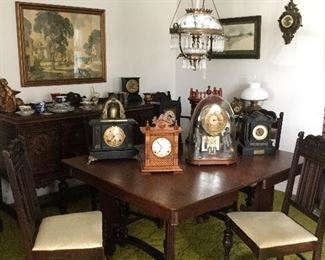 Antique dining table with 6 chairs. Sample selection of the 100+ beautiful clocks.