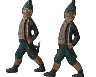 Lot 713  Antique Hessian Soldier Andirons