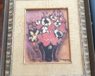 Migishi Setsuko Original Art Painting FLOWER Framed Japan Modern Artist Rare
