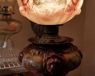 1890's GWTW Fostoria oil lamp - electrified