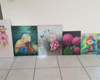Multiple acrylic and oil paintings. each.