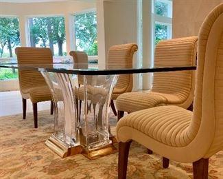 """Glamorous acrylic and bronze """"Washington"""" dining table designed by Jeffrey Bigelow."""