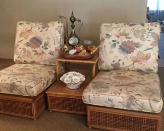 Fisk Reed pair of armless chairs and matching step down side table