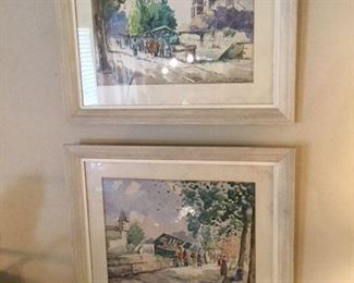 2 french mcm watercolors, signed and of Paris