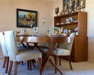Robsjohn Gibbings For  Widdicomb  Dining Table, 6 Chairs