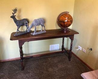 Library Table,  Deer Figures, Globe