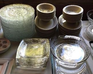 Glassware,  Ironstone Soup and Sandwich Sets