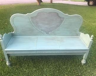 Chalk painted bench constructed from depression era bed.