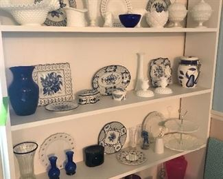 Milk glass, cobalt glass, blue and white transfer ware