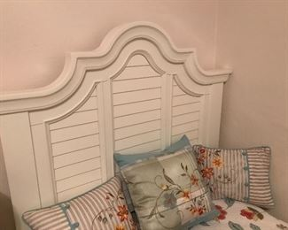 Twin shutter headboard bed
