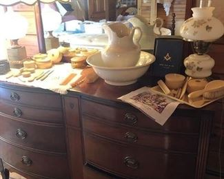 Gorgeous Double Bow Front Mahogany Dresser and Mirror.  Ironstone bowl and pit. set, one of a few....