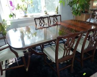 Kindel Grand Rapids mahogany double pedestal dining table