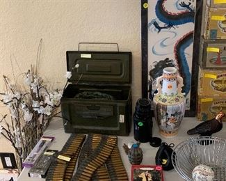 M1 machine gun belt, ww2 ammo box with spent shells, real vintage Richmond foundry company training grenade.
