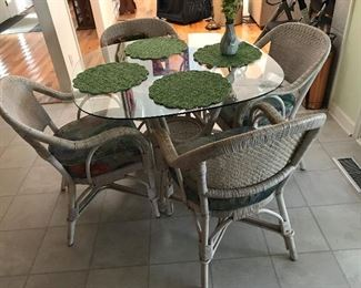 Glass Top Rattan Table / 4 Chairs $ 178.00