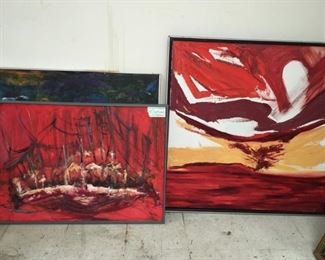 """Two oil on canvas by Dave Walters, """"Red, White, Yellow"""" (37.25""""x37.25""""); other 34.25""""x25"""""""