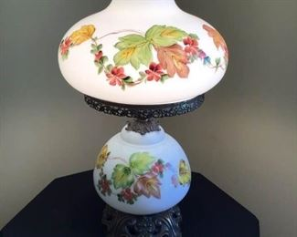 Vintage Hurricane Milk Glass Hand-painted Lamp