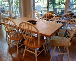 Butcher block trestle table and chairs