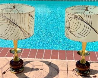 Pair of heavy brass midcentury lamps with original shades