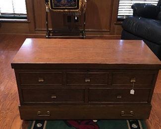 Cedar chest, quilt rack