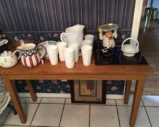 Table, milk glass