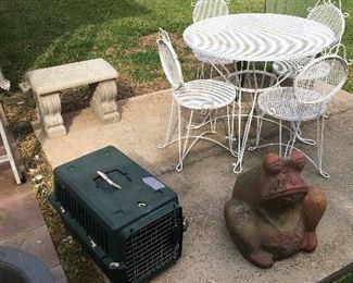 Patio set, concrete bench, frog planter, pet carrier