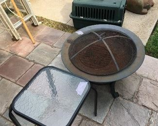 Fire pit, aluminum ladder, small table