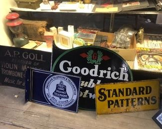 Vintage Goodrich metal flange double sided sign, American Telephone and Telegraph porcelain flange double sided sign,