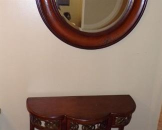beautiful large Round Mirror, Wall Table - makes a beautiful hall entry  decor