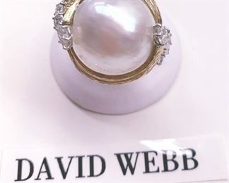DAVID WEBB GOLD PEARL AND DIAMOND RING