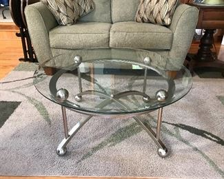 Glass / chrome coffee table, part of a three piece set