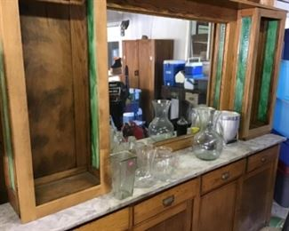 . . . this a great view of the pharmacy/soda fountain wall unit -- what a find!! Mirror is in great shape, marble is perfect, and leaded glass really makes it pop!