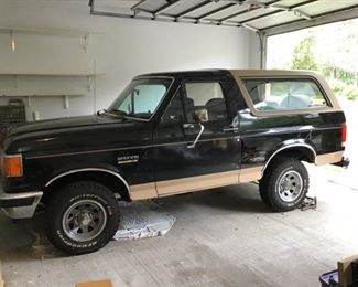 1990 Ford Bronco Eddie Bauer Edition 4x4.  Body is in excellent condition. Was garage kept under a cover.  Has not been cranked in 2 years.  Bring a trailer.   Offers are being taken separately from the online auction.  Please contact Steve at sacosta@caringtransitions.com to place an offer. Starting offer is $10,000.  Please submit your best offer via email by 5pm on 9/25/19.  Previews are available on request.  Please see additional pictures further down the page.