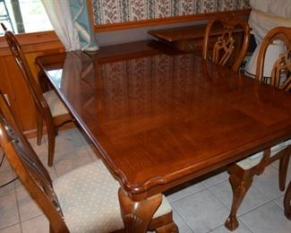 "Thomasville Dining Suite. Table 45"" X 71"" Plus 2 24"" X 45"" Leaves. @ Armchairs, 4 Side Chairs"
