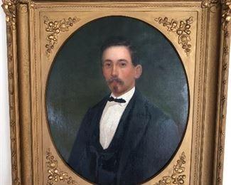 Antique oil portrait