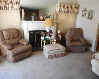 Living Room. NICE..recliners. Beveled Glass Occasional Tables