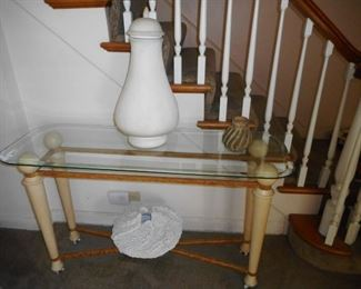 Beveled Glass Entry or Sofa Table