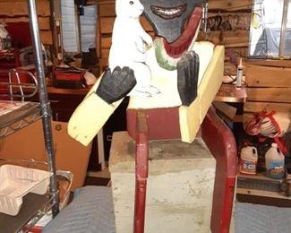 Huge Black Americana Wood Figure