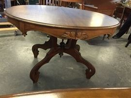 ANTIQUE WALNUT LARGE OVAL TABLE, $225.00