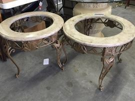 PAIR OF GLASS AND IRON TABLES, PAINTED GOLD , WITH FAUX MARBLE TOPS           $  80.00