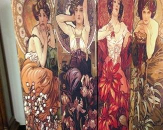 ALFONSO MUCHA ,  4 PANELS ON BOTH SIDES CANVAS  SCREEN         $  250.00
