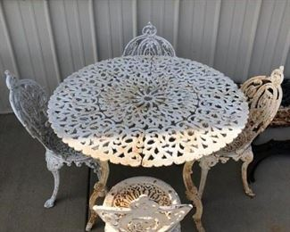 FIVE VICTORIAN HEAVY CAST IRON CHAIRS  $ 750.00 SET,   CAST IRON TABLE SOLD SEPERATE