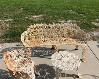 LRG CAST IRON BENCH $ 275.00 , CHAIR $ 90.00 AND TABLE $ 75.00   GRAPE PATTERN  SALE PRICE $ 400.00