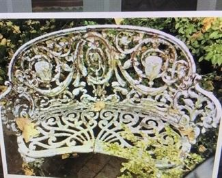 CAST IRON FRENCH GARDEN BENCH, EARLY 1900'S , HARD TO FIND PIECE  $ 900.00