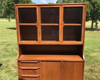 MID CENTURY WALNUT CHINA CABINET , DESIGNER ADRIAN PEARSAL, PRISTINE CONDITION,  $ 250.00, WE HAVE THE MATCHING CHAIRS THAT WERE WITH THE SET TOO