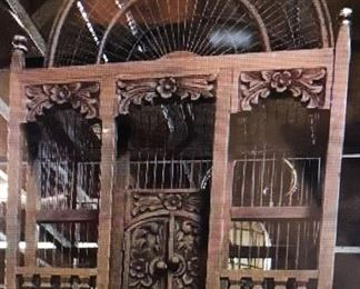 UNIQUE HAND CARVED WOOD ,  BIRD CAGE, RARE FIND  $ 350.00